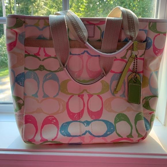 Coach Handbags - VGUC Authentic Coach Pastel Tote Bag